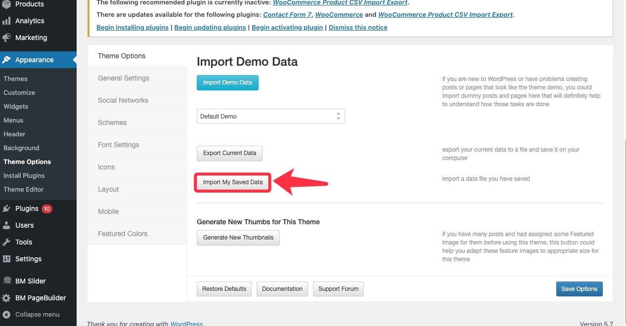 import-demo-saved-data
